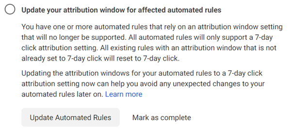 Facebook update attribution window rules task