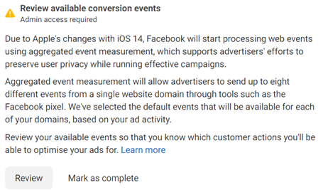 Facebook review conversion events task