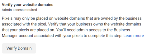 Facebook verify domain task