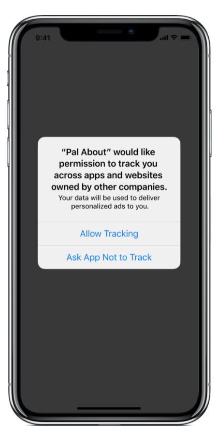 iOS 14 tracking opt-in prompt
